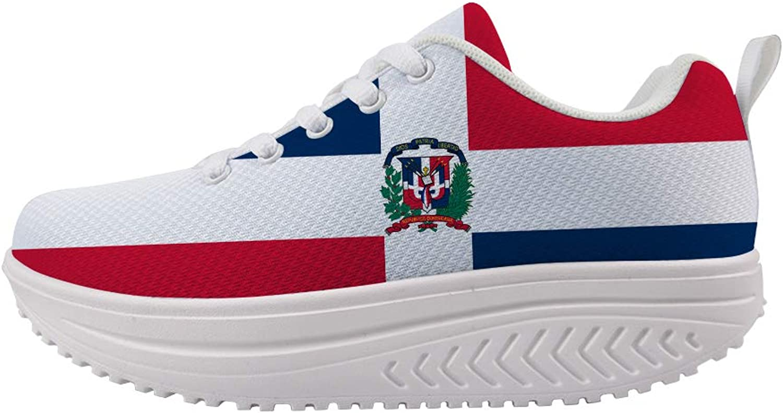 Owaheson Swing Platform Toning Fitness Casual Walking shoes Wedge Sneaker Women Dominica Flag
