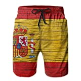YISHOW Spain Wooden Texture Spanish Flag Men's Beachshort...
