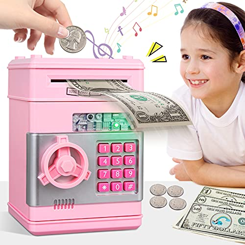 MAGIBX Piggy Bank Toys for 6 7 8 9 10 11 Year Old Girl Gifts, Money Saving Box for Teen Girls Toys Age 6-8-10-12, Halloween Birthday Gifts for 7 8 Year Old Girls Stuff ATM Machine for Kids 5-7, Pink