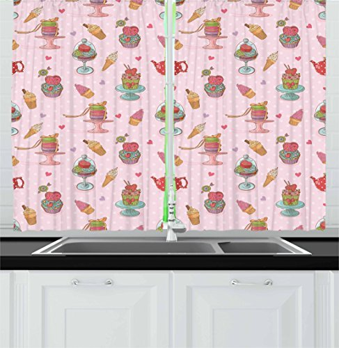 Ambesonne Ice Cream Kitchen Curtains, Retro Style Cupcakes Teapots Candies Cookies on Polka Dots Vintage Kitchen Print, Window Drapes 2 Panel Set for Kitchen Cafe Decor, 55' X 39', Pastel Pink