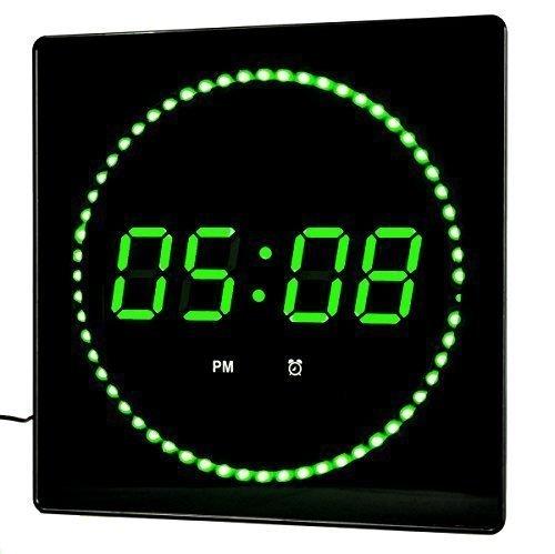 LED Wanduhr Grün Rund Temperatur Wecker Datumsanzeige Wandmontage Studiouhr Digitaluhr