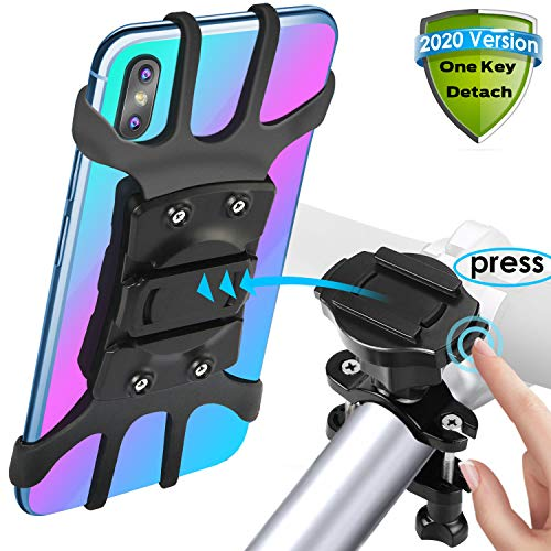 [2020 Version Quick Release] SKYWING Bike Phone Mount, 360° Adjustable Bicycle Phone Holder, Detachable Motorcycle Handlebar Mount Holder. Black