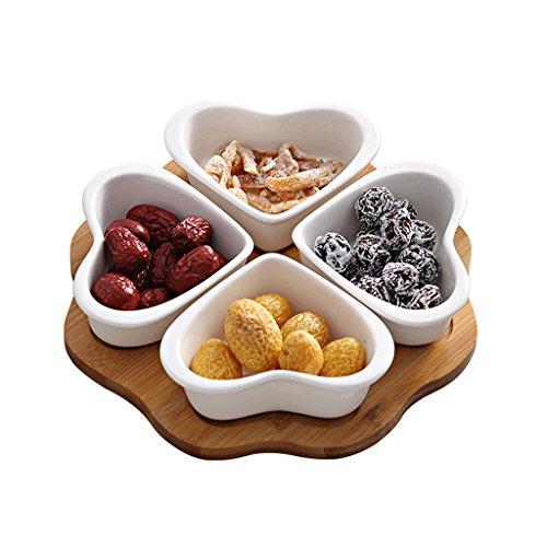 Plato de fruta de cerámica Hogar Sala de estar Nueces de melón Tazón de rejilla Té de la tarde Plato de postre Plato de fruta seca en forma de corazón creativo