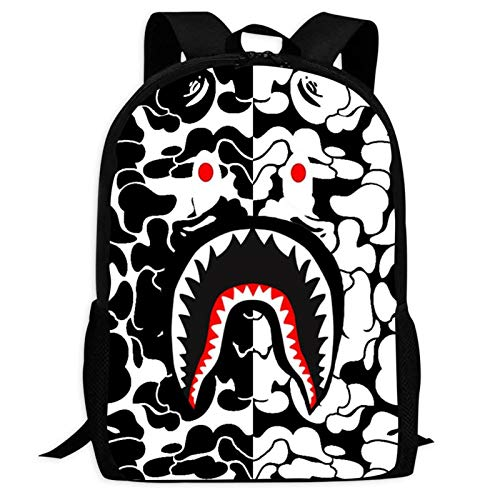 B-ape Sh-ark Fully Printed Backpacks Multi-Function Laptop Shoulder Bag College School Bookbag for Boys Girls