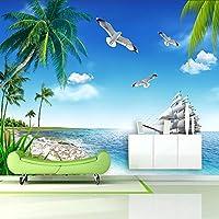 カスタム写真壁画モルディブ海景ココナッツツリーヨットリビングルームのテレビの背景の装飾壁壁画の3D壁紙-130x60cm