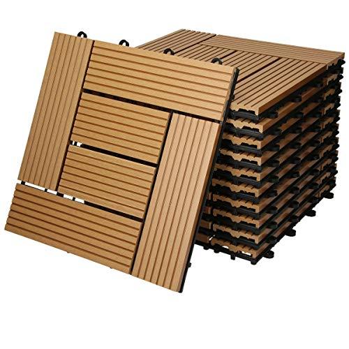 ECD Germany WPC Terrassenfliesen 30 x 30 cm 44er Spar Set für 4m² Teak Mosaik Holzoptik für Garten Balkon Bodenbelag mit Drainage Klicksystem Terrassendielen Balkonfliesen Klickfliesen Holzfliesen
