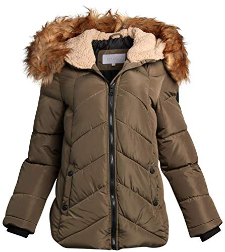 Madden Girl Women's Winter Puffer Jacket with Removable Sherpa-Lined, Fur-Trimmed Hood, Olive Green, Size Medium