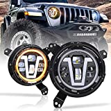 Jeep JL Headlights, PXPART Adjustable Wrangler JL LED Headlights with V Type White DRL Amber Turn Signal Lights for Jeep Wrangler JL 2018-2019 Jeep Gladiator JT 2020