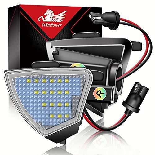 WinPower LED Specchietto Retrovisore Luce Pozzanghera 6000K Bianco Senza errori Luci Laterali Compatibile con Volkswagen Golf/Je-tta/Pa-ssat/Sha-ran ecc, 2 Pezzi