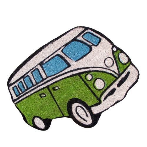 Regalo para el hogar, felpudo forma de furgoneta retro Volkswagen verde