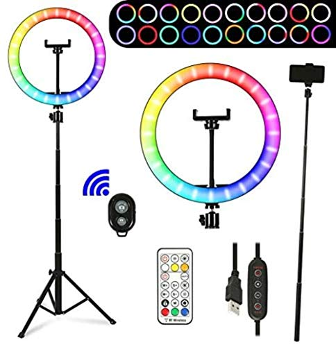 Mazu Homee 10-inch Selfie ring lamp, tripod and mobile phone bracket, 13 colors adjustable RGB LED ring lamp for makeup, YouTube, video, real-time, photography (10 brightness level and remote)