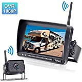 Rohent FHD 1080P Digital Wireless Backup Camera with 7' DVR Monitor High-Speed Observation System for RVs/Trucks/Trailers/Fifth Wheel IP69K Waterproof Super Night Vision Guide Lines DIY