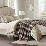 Madison Park Zuri Soft Plush Luxury Oversized Faux Fur Throw Animal Stripes Design, Mink On The Reverse Modern Cold Weather Blanket For Bed, Sofa Couch, 96x80, Chocolate