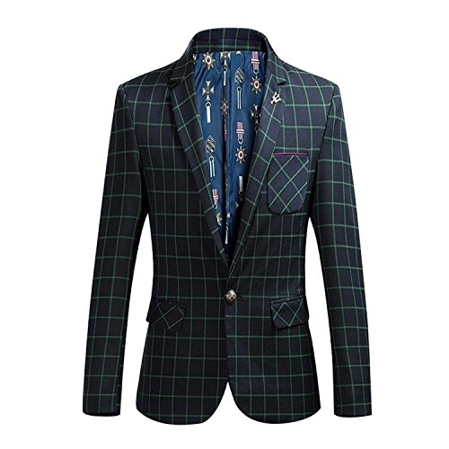 YOUTHUP Mannen Check Blazer Slim Fit Tweed pak Sportjack