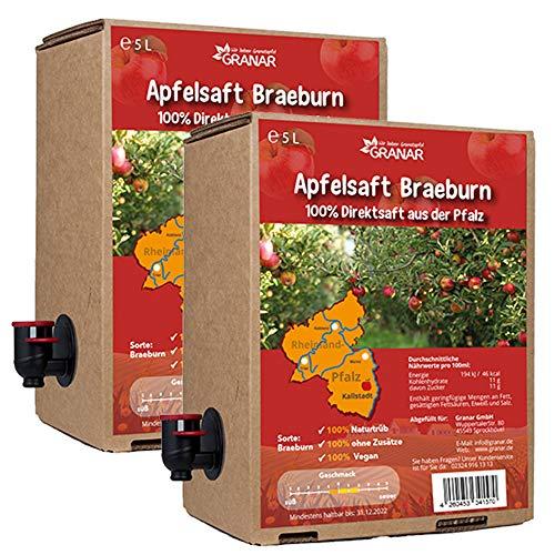 2 x 5 Liter-Box Apfel Direktsaft Braeburn aus der Pfalz, 100 % Apfelsaft, vegan und ohne Zusätze - 2 x 5-Liter Boxen