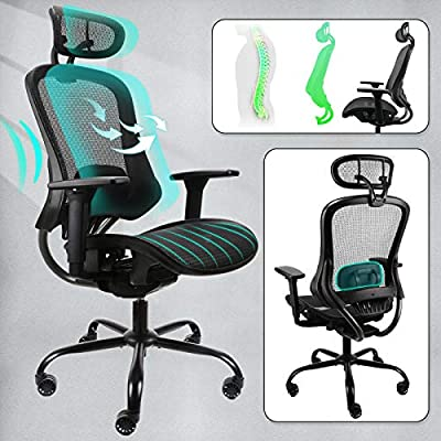 Mesh Office Chair Ergonomic Office Chair Computer Desk Chair, Mesh Seat and Back, Wide Headrest, Adjustable Lumbar Support and 3D Armrest (M, Brown) (Black, M with Plastic Base)