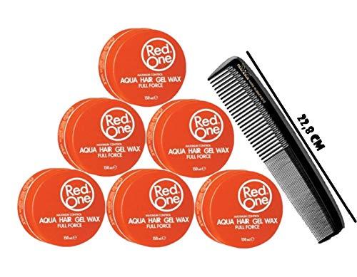 RedOne Aqua Hair Gel Wax Orange Full Force 150ml 6 Stück + GRATIS Pegasus Kamm XXL