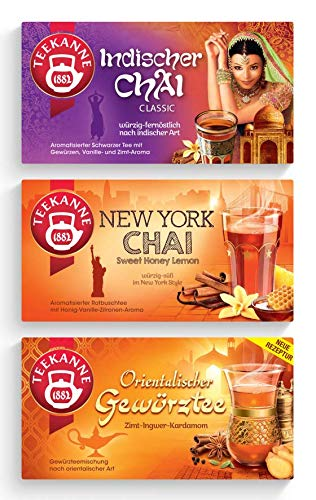 Teekanne Ländertee - Gewürztees Chai 3er Set - Indischer Chai, New York Chai, Orientalischer Gewürztee (115g)