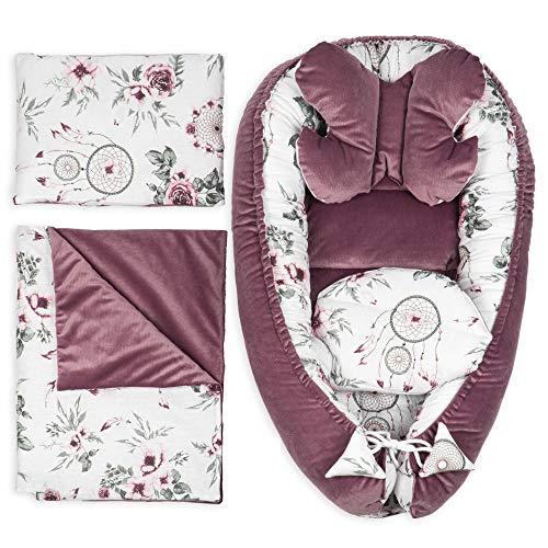 Babynestchen Set Neugeborene - Kuschelnest Baby Nestchen Bett Set 5- Teilig Kokon (Dunkelrosa Velvet Set 5-TLG, 90x50 cm)