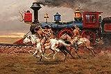 Rompecabezas para adultos 1000 piezas Rompecabezas Educativo Intelectual Descomprimiendo Diversión Juego familiar Native American Cowboy Riding 50x75cm