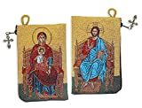 Orthodox Tapestry Icon Pouch - Prayer Bead Holder - Keepsake Holder with Zipper Christ and Virgin Mary Enthroned Icons 5 3/8 Inch