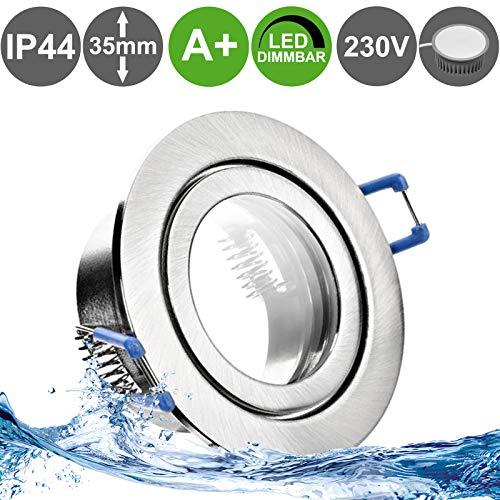 MARE IP44 1er Set LED Bad Einbaustrahler 5W dimmbar extra flach 230V Decken Spot EDELSTAHL OPTIK gebürstet rund Warm-Weiß (3000k) nur 35 mm Einbautiefe für Bad, Feuchtraum + außen