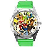 TAPORT® Pokemon League Team Reloj redondo de cuarzo con correa de piel verde