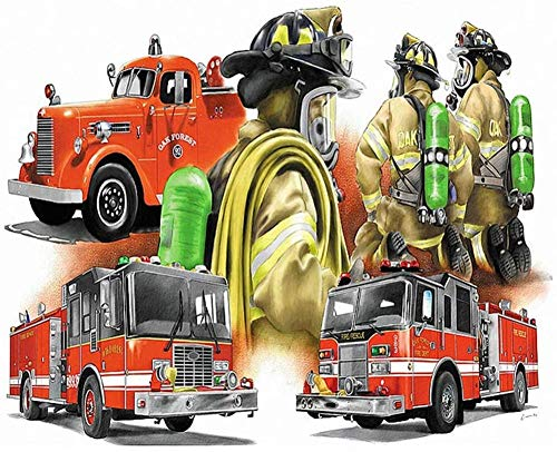 Gempajk 5D Diamond Painting Kits for Adults and Kids red fire Truck Full Drill Diamond Art Kits and Crafts Diamond Painting by Number Kits for Home Wall Decoration AB0182-Ruond Drill_60x80cm