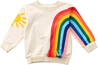Fansxing Toddler Kids Baby Girl Boy Long Sleeve Tassel Rainbow Sweatshirt Casual Shirt Pullover Tops