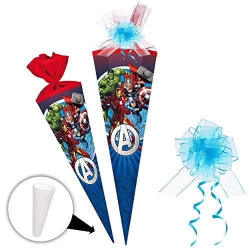 alles-meine.de GmbH Schultüte -  The Avengers - Assenble Avenger  - 85 cm - eckig - incl. Schleife - Tüllabschluß - Zuckertüte - mit / ohne Kunststoff Spitze - Nestler - Schult..