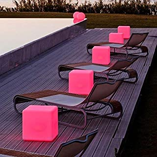 LOFTEK LED Light Cube: 20-inch RGB Cube Seats Colors Changing Bar Chairs&Tables, UL Listed Adapter, 4400mAh Capacity, Perfect for Sensory Education & Party Decoration
