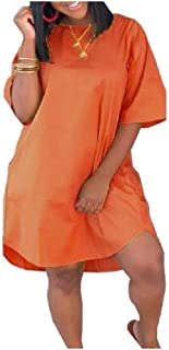 RkYAO Women Casual Round Collar Evening Club Solid Pockets Mini Dress
