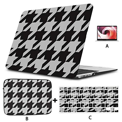 Macbook 15 Cover Black White Hounds Tooth Macbook Air Protective Cover Hard Shell Mac Air 11'/13' Pro 13'/15'/16' With Notebook Sleeve Bag For Macbook 2008-2020 Version