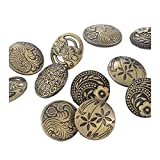 HOUSWEETY 30PCs Round Sewing Buttons Bronze Tone Flower Decorative Pattern Mixed 17mm