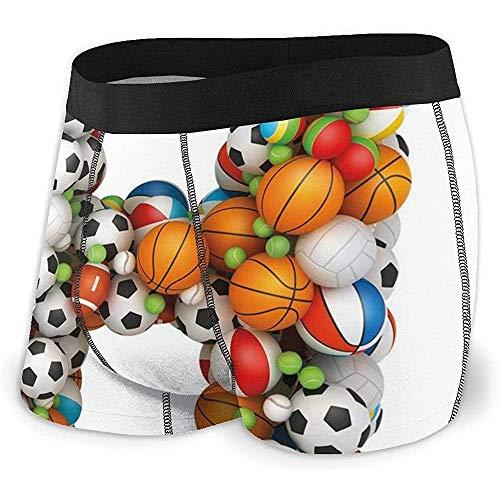Calzoncillos Boxer para Hombre, Ropa Interior, Letra H, apiladas de Pelotas de Juego Alfabeto de Deporte Tema Competencia Actividad Tamaño XL
