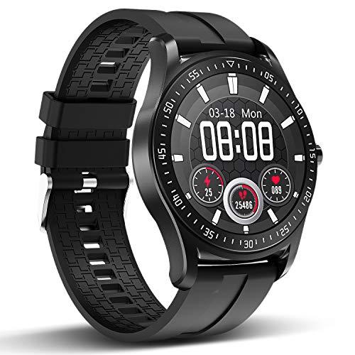 HopoFit Smartwatch, IP68 Wasserdicht Fitness Uhr Touch Screen Armbanduhr mit Herzfrequenz Schrittzähler, 1.3