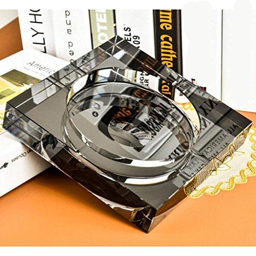 Aschenbecher Schwarzes Gold Quadrat Kristall Glas Wohnzimmer Dekoration Rollsnownow (Size : 13 * 13 * 3cm)