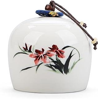 Peinture à encre chinoise Boîte à thé en céramique Mini 7.5 * 7cm Candy Jars Cuisine Épices Jar Sugar Sumre Boîte de range...