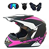 ESASAM Casco de moto de motocross Downhill de cara completa y casco Enduro, para adultos, con guantes, máscara y gafas (color rosa, talla M)