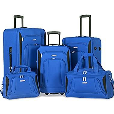 Flieks 5 Piece Set Expandable Rolling Suitcase Softshell Deluxe Luggage Set (Blue)
