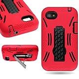 CoverON BlackBerry Q5 Hard Silicone Hybrid Kickstand Case - Red