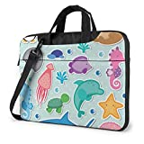Sea Animals Clip Art Laptop Case 14 Inch Carrying Case with Strap