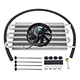 LucaSng 6 Row Radiator Remote Transmission Oil Cooler Aluminum with 7' Black Cooling Fan w/Kit Electric Radiator Cooling 12V 80W Mount Kit