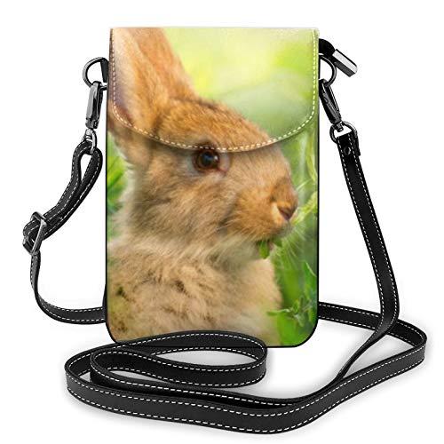 Bolso ligero del teléfono celular del cuero de la PU, lindo conejito pequeño crossbody bolsos bolso bolso de hombro cartera Pounch para las mujeres, color Negro, talla Talla única