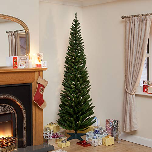 Snowtime 8ft Green Pine Pencil Slim Artificial Christmas Tree with 460 Branch Tips (click to see more sizes)