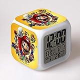 Reloj de anime Super Mario Super mario bros con cambio de 7 colores LED despertador digital noche cambio colorido