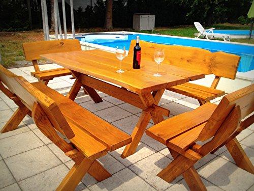 rustieke tuinmeubelset van massief eiken/tafel/bank/natuurlijk hout