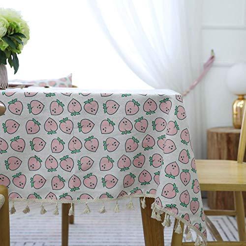 WEIFENG Cartoon-Stil rosa Pfirsich Tischdecke Stoff Couchtisch Tischdecke rechteckige Baumwolle Leinen Tischdecke nach Hause Pfirsich 140 * 200