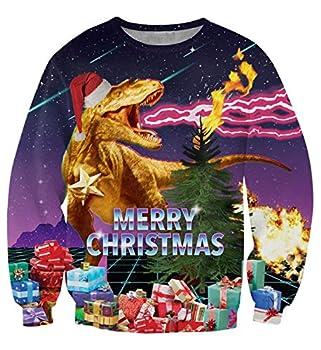 uideazone Merry Christmas Shirt Collage Ugly Xmas Dragon Cool Sweatshirt W6 Asia XL= US L
