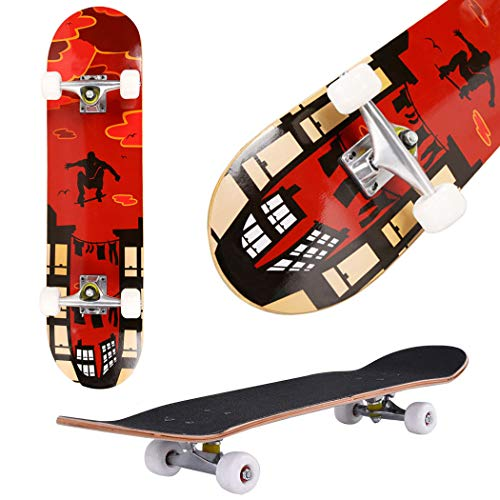 Skateboard, 31' x 8' Complete PRO Skateboard, 9 Layer Canadian Maple Wood Double Kick Tricks Skate Board Concave Design for Beginner,Gift for Kids Boys Girls Youths (2 - Red Pose)